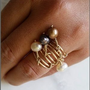 14k gold-filled freshwater pearl adjustable ring
